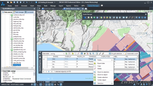 Figure 3. The Data Table in Spatial ManagerTM for ZWCAD.jpg
