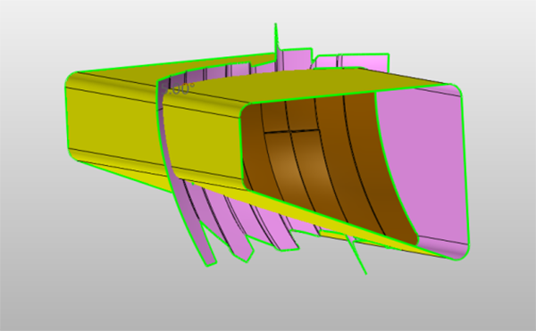 Figure 5. Use Sketch to define the outline of the reflector's profile and extrude them