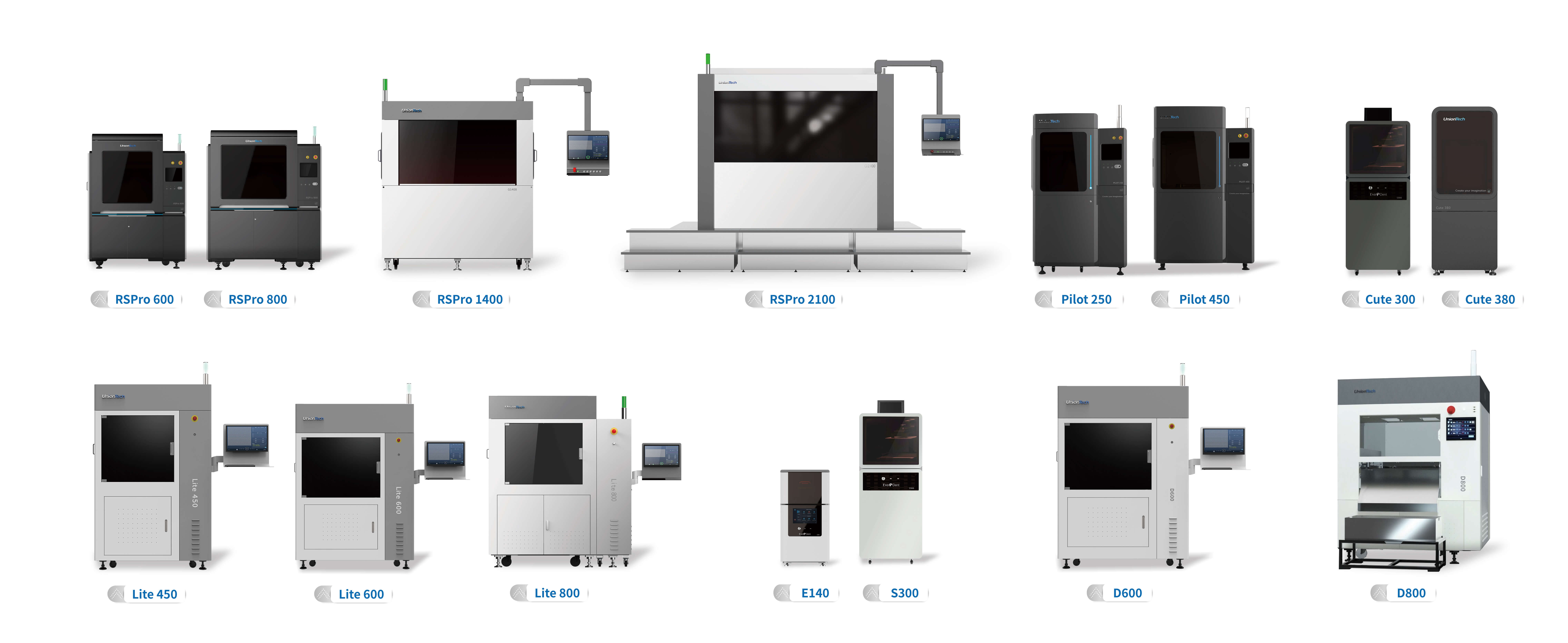 Figure 1. Some SLA and DLP 3D printers from UnionTech