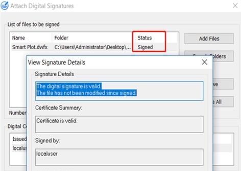 Digitale Signaturen auf DWFx-Dateien